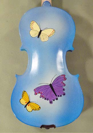 3/4 Student 'GEMS 2' Blue Butterflies Violin - by Gliga