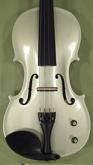 Metallic 4/4 ADVANCED Student 'GEMS 2' Electric Silver Violin on sale