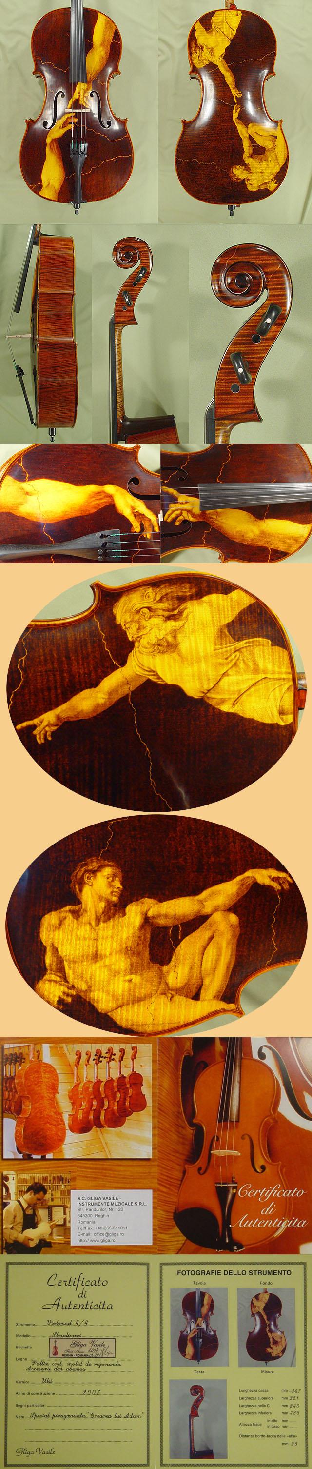 4/4 MAESTRO VASILE GLIGA 'THE CREATION of ADAM' Pyrogravure Cello