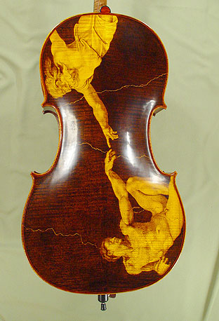 4/4 MAESTRO VASILE GLIGA 'THE CREATION of ADAM' Pyrogravure Cello