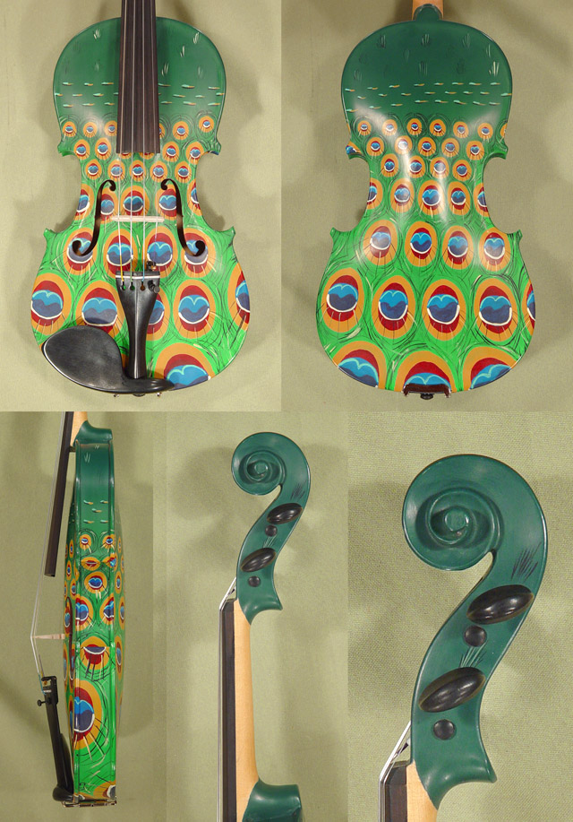 3/4 ADVANCED Student 'GEMS 2' Painted Green Peacock Violin