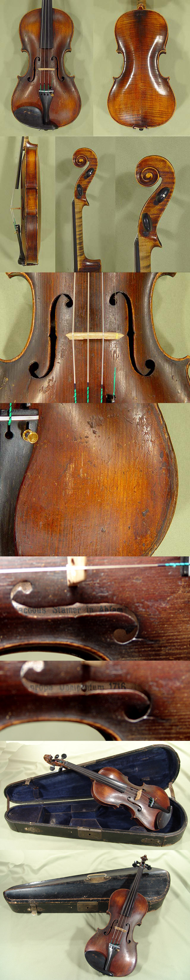 4/4 STAINER - 292 years old Violin 'Jacobus Stainer 1716' Model