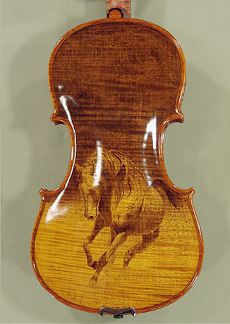 4/4 MAESTRO VASILE GLIGA \'EL ZORAB\' Pyrogravure One Piece Back Violin on sale