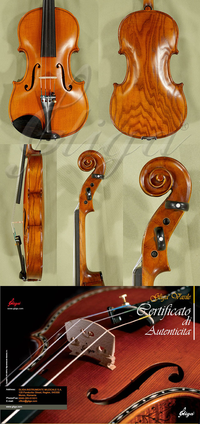 4/4 MAESTRO VASILE GLIGA Ash One Piece Back Violin Guarneri Model