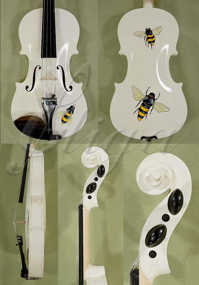 3/4 ADVANCED Student 'GEMS 2' Painted White Bee Violin