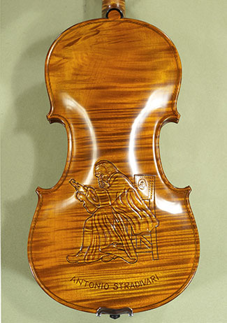 4/4 MAESTRO VASILE GLIGA \'Stradivari\' Relief Wood Carving One Piece Back Violin on sale