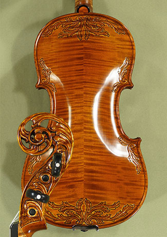 4/4 MAESTRO VASILE GLIGA Sun Flower Scroll with Leaves on Top and Back Violin on sale