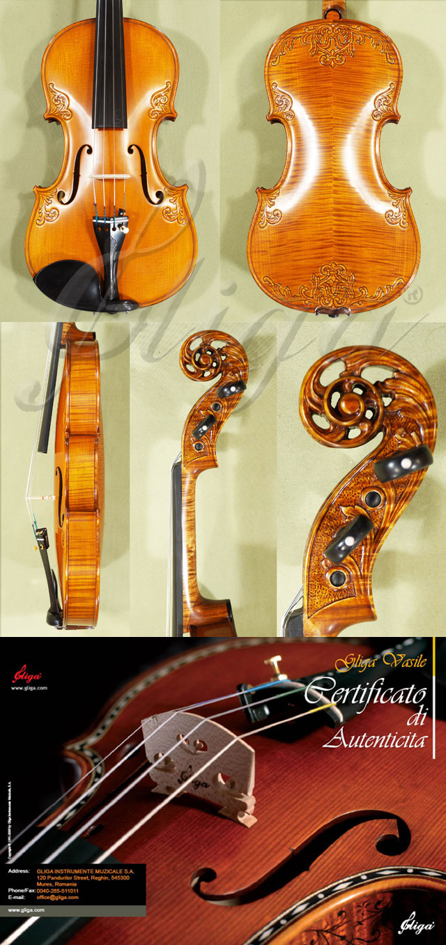 4/4 MAESTRO VASILE GLIGA Sun Flower Scroll with Leaves on Top and Back Scroll Violin