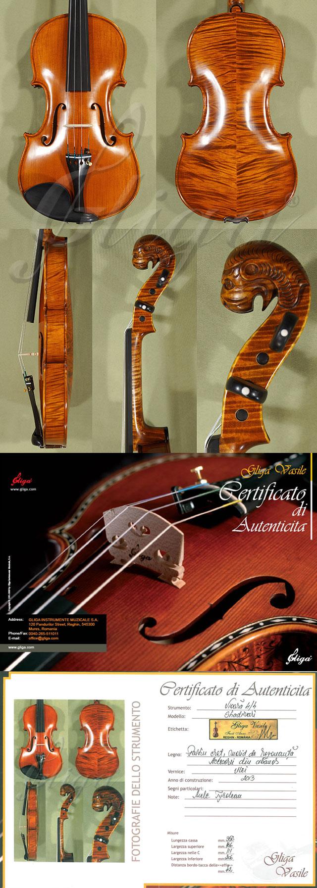 B7210 - 4/4 MAESTRO VASILE GLIGA Tyrolean Lion Scroll 'Tyrolean' Scroll Violin