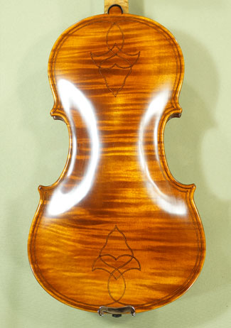 Antique Scratched 4/4 MAESTRO VASILE GLIGA Inlaid Double Purfling with Flower Design One Piece Back Violin 'Maggini 1630' on sale