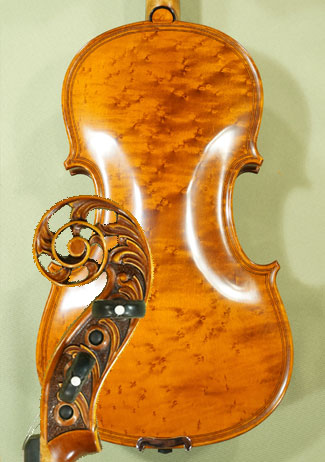4/4 MAESTRO VASILE GLIGA Inlaid Double Purfling Scroll Bird\'s Eye Maple One Piece Back Violin  on sale