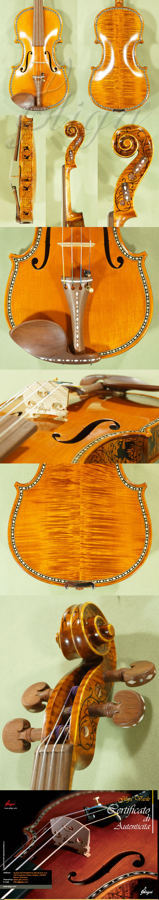 4/4 MAESTRO VASILE GLIGA Rare White Bone and Ebony Inlaid Purfling Violin