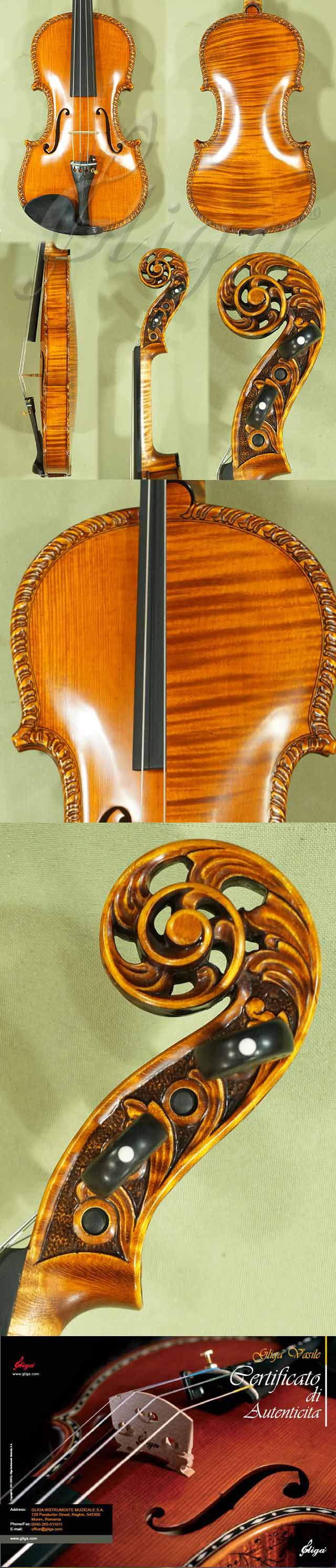 4/4 MAESTRO VASILE GLIGA Scroll One Piece Back Violin