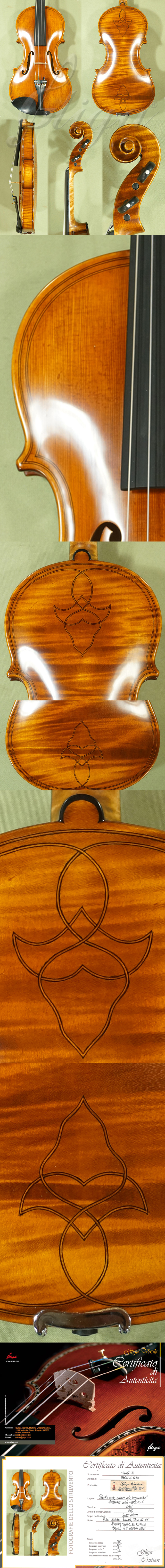 Antique Scratched 4/4 MAESTRO VASILE GLIGA Inlaid Double Purfling with Flower Design One Piece B