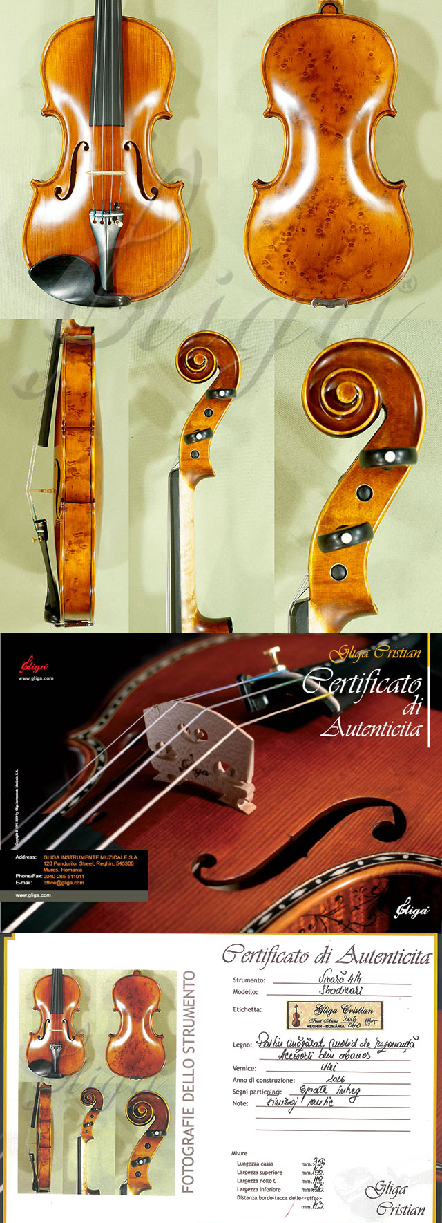 Antiqued 4/4 MAESTRO GLIGA Bird's Eye Maple One Piece Back Violin