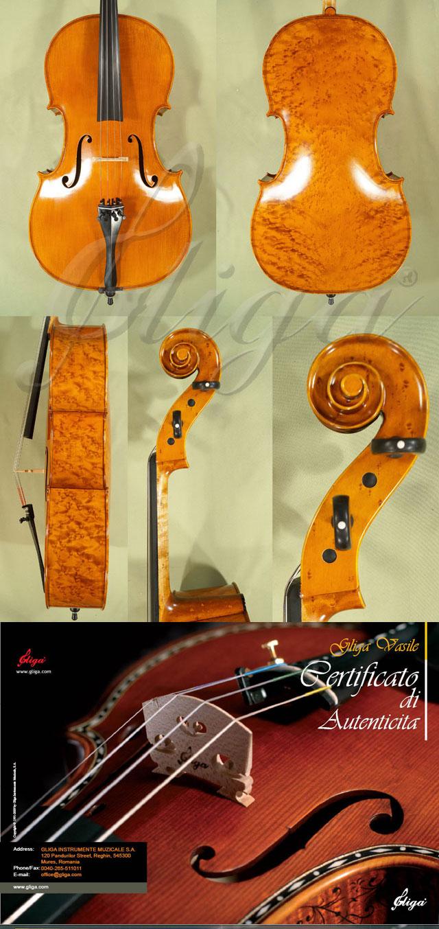 4/4 MAESTRO VASILE GLIGA Inlaid Double Purfling Bird's Eye Maple One Piece Back Cello