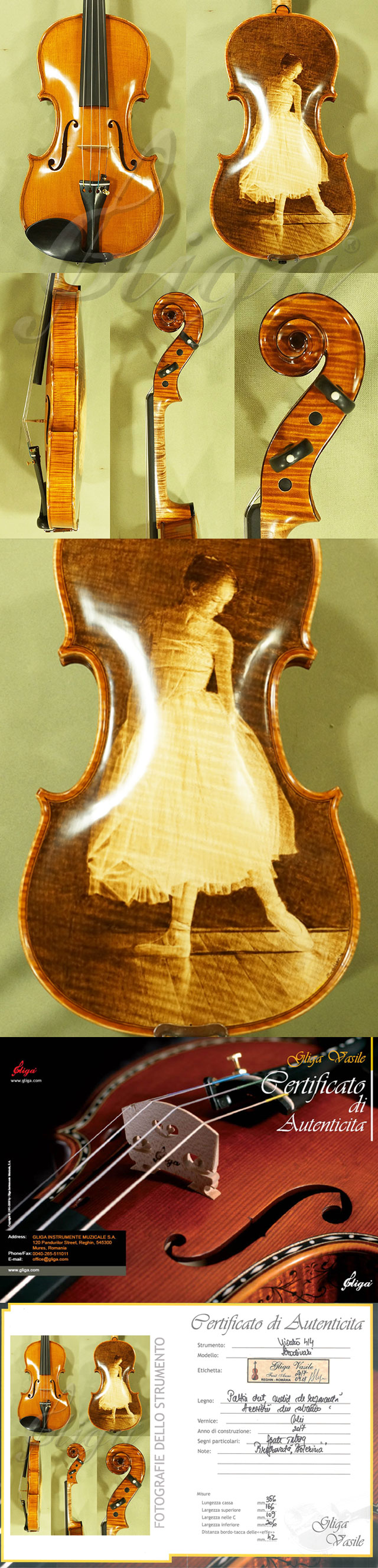 4/4 MAESTRO VASILE GLIGA One Piece Back Violin