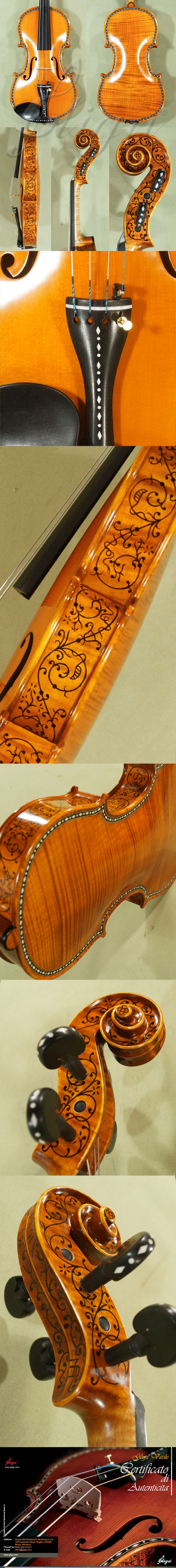 4/4 MAESTRO VASILE GLIGA Rare White Bone and Ebony Inlaid Purfling One Piece Back Violin