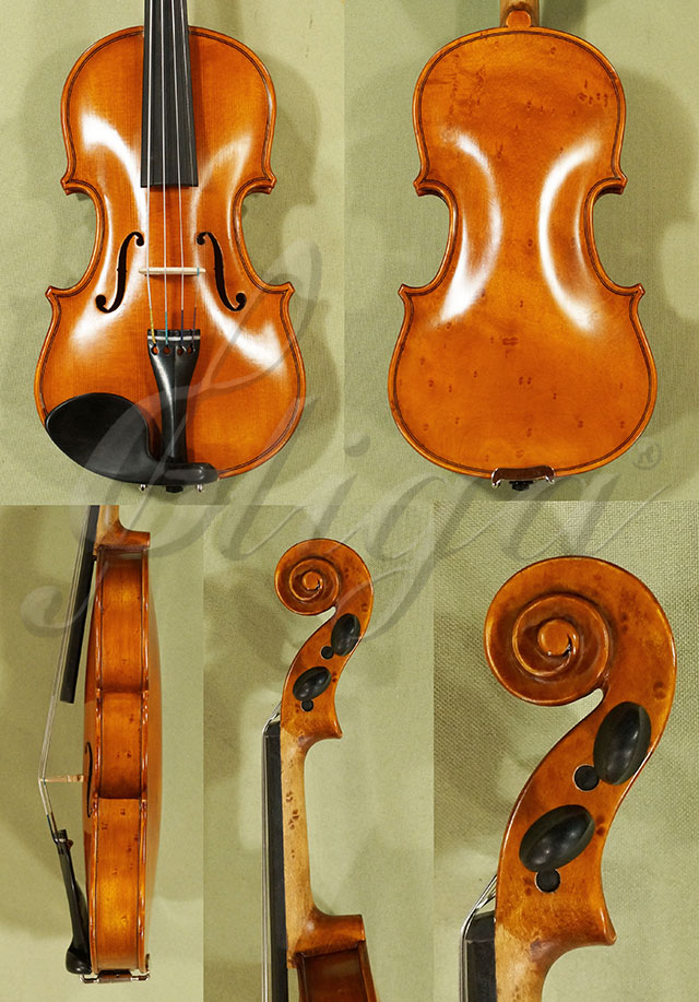 Antiqued 1/10 WORKSHOP 'GEMS 1' Bird's Eye Maple One Piece Back Violin