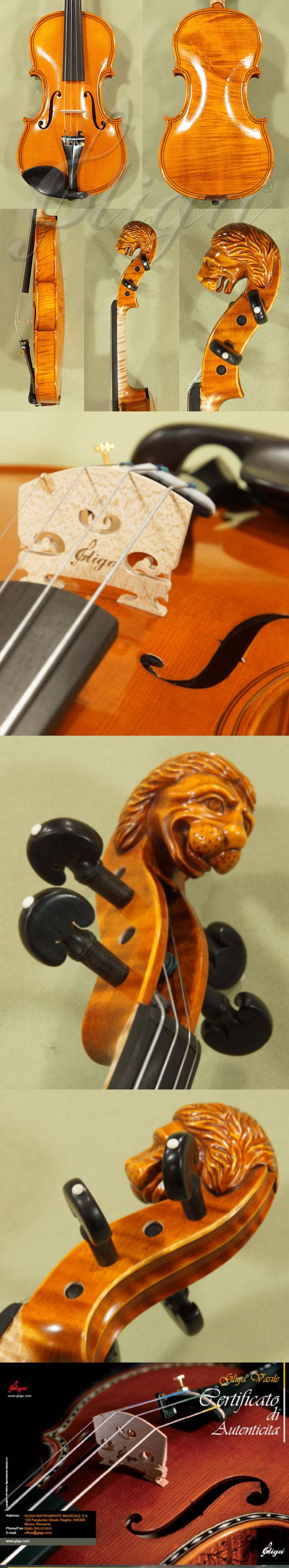 4/4 MAESTRO VASILE GLIGA Inlaid Double Purfling 'Lion' Scroll One Piece Back Violin
