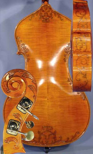 3/4 MAESTRO VASILE GLIGA Special Inlaid Purfling Relief Wood Carving Double-Bass on sale