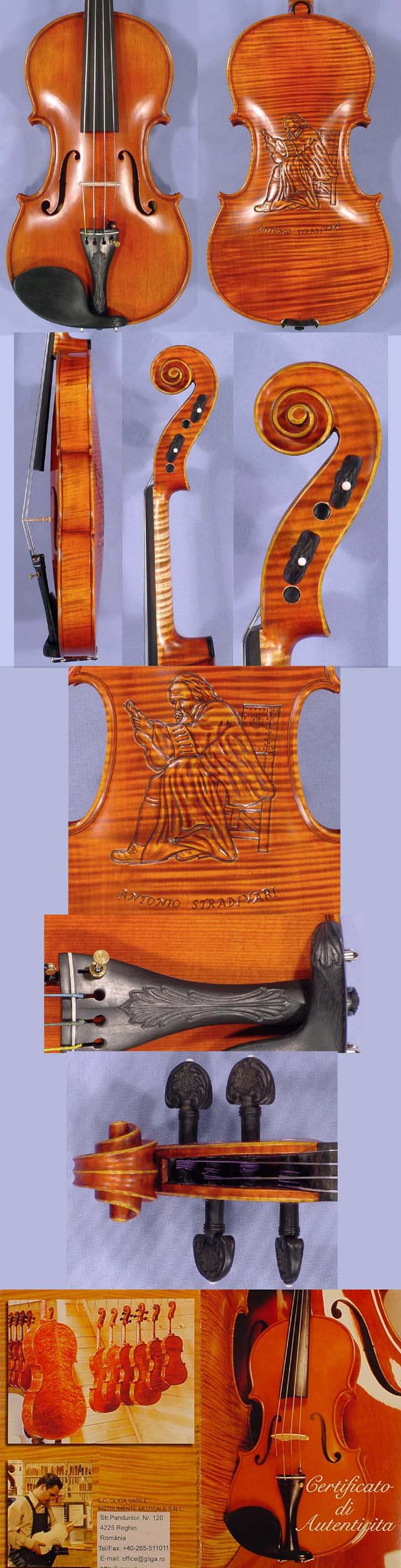 4/4 MAESTRO VASILE GLIGA One Piece Back Violin