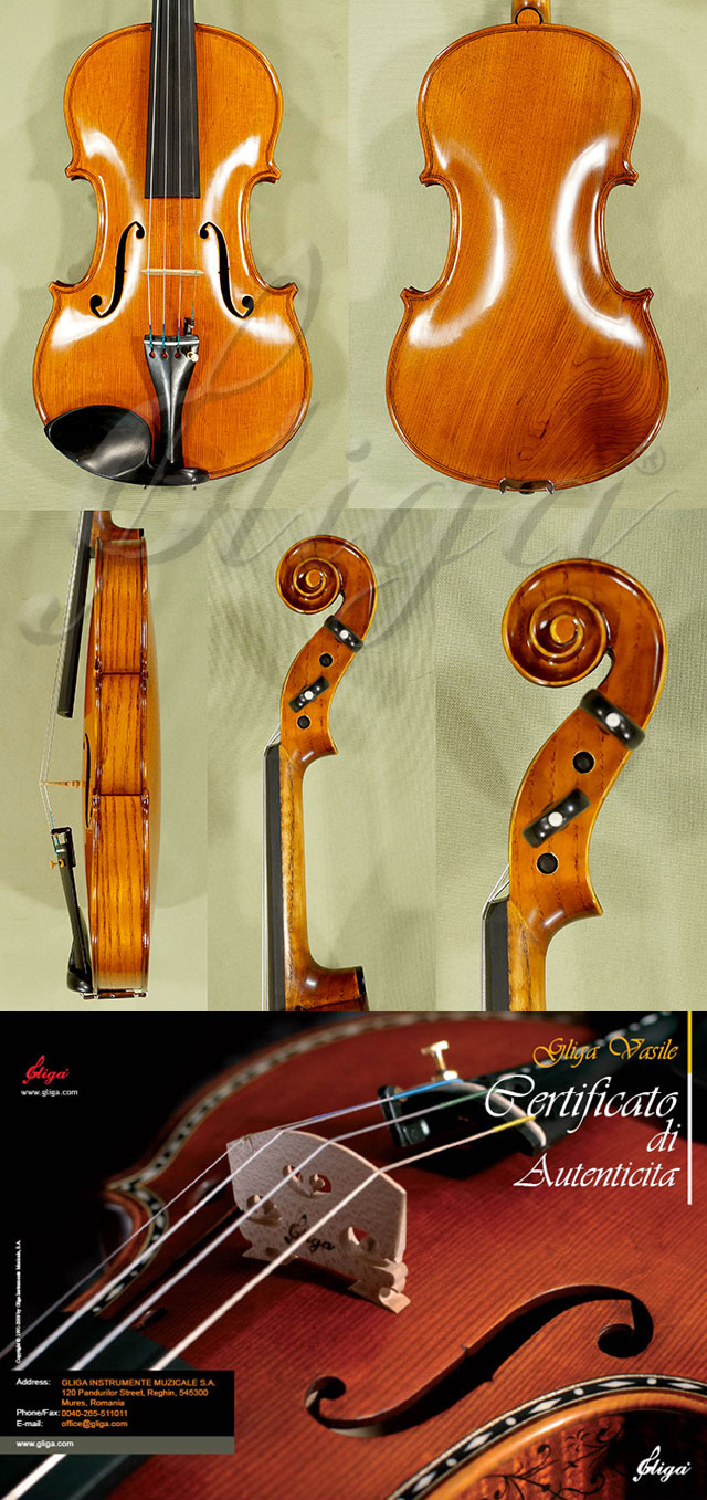 4/4 MAESTRO VASILE GLIGA Ash One Piece Back Violin Guarneri Model